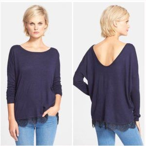 Joie Navy Scoop Back Sweater Black Lace Trim
